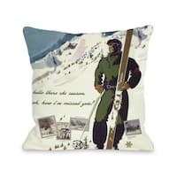 Hello There Ski Season Vintage Ski Throw Pillow