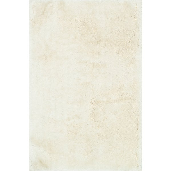 Hand-tufted Solid Ivory Mid-century Shag Rug - 9'3 x 13'
