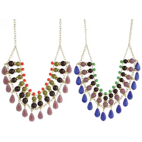 Handmade Bead Drop Layers of Color Necklace (India)