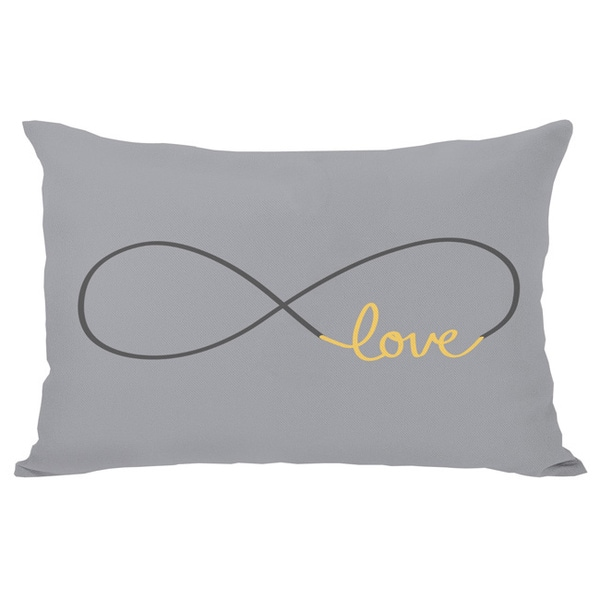 Shop Infinite Love Mimosa Gray Throw Pillow On Sale