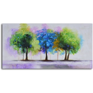 'Blue and green copse' Hand Painted Canvas Art