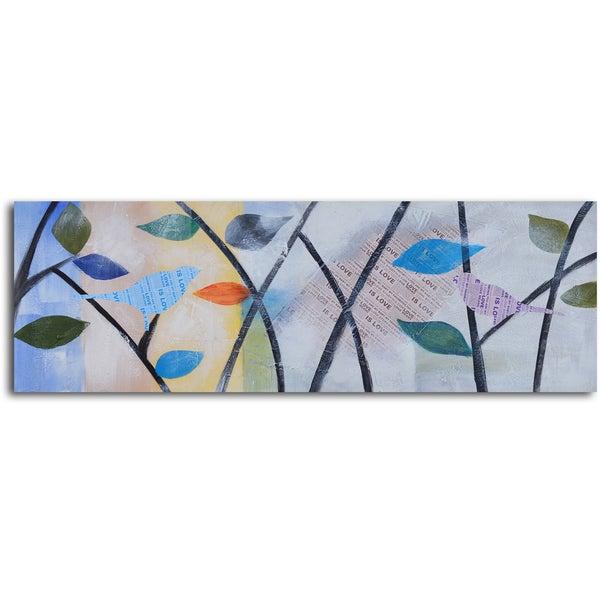 'Newspaper lovebirds' Hand Painted Canvas Art
