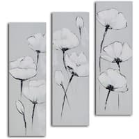 'White on white poppies' 3-piece Hand Painted Canvas Art