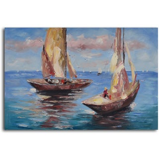 'Duo of sail boats' Hand Painted Canvas Art