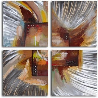 'Four square steel splash' 4-piece Hand Painted Aluminum Painting|https://ak1.ostkcdn.com/images/products/8441220/P15736130.jpg?impolicy=medium
