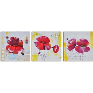 'Floral notes' 3-piece Hand Painted Canvas Art