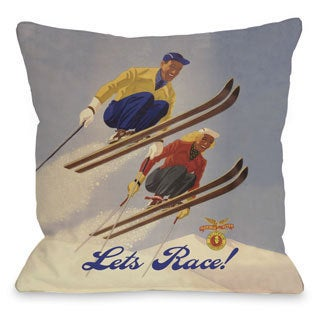 Lets Race Vintage Ski Throw Pillow