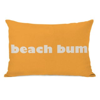 'Beach Bum' Rectangular Orange Throw Pillow