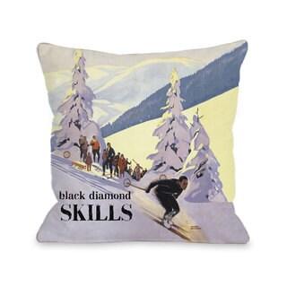 Black Diamond Skills Vintage Ski Throw Pillow