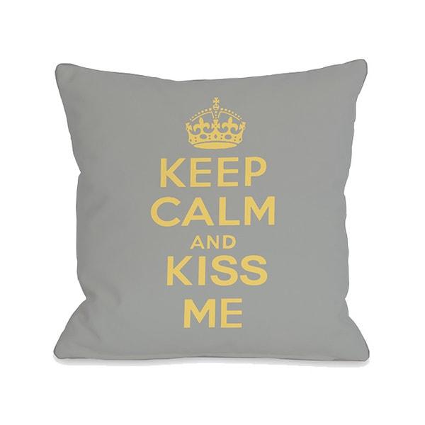 Keep Calm & Kiss Me Throw Pillow