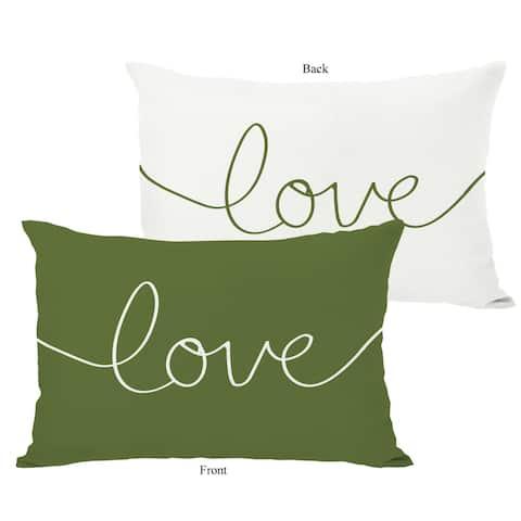 Love Mix & Match Ivory/Green Throw Pillow