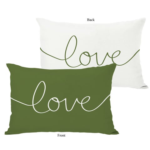 Love Mix & Match Holiday - Ivory/Green Throw Pillow