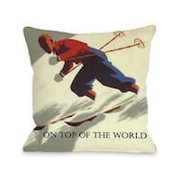 On Top of the World Vintage Ski Throw Pillow