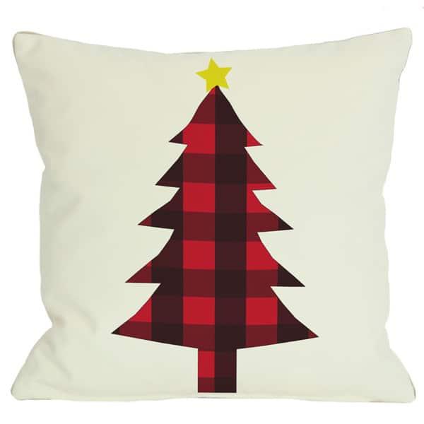 Plaid Christmas Tree Reversible Throw Pillow