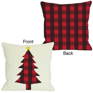 Plaid Christmas Tree Reversible Throw Pillow