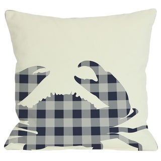 Plaid Crab Navy Throw Pillow