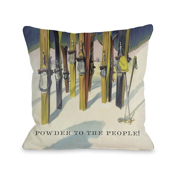 Powder to the People Vintage Ski Throw Pillow