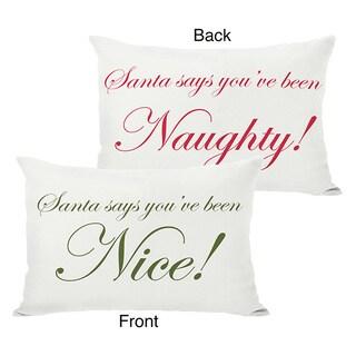 Santa Says Naughty or Nice Reversible Throw Pillow