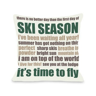 Ski Season Words Throw Pillow