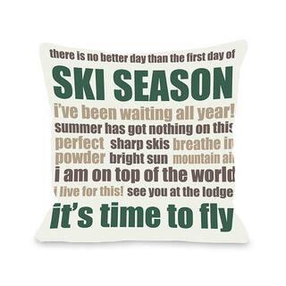 Ski Season Words Throw Pillow