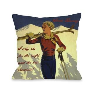 Snow Bunny Vintage Ski Throw Pillow