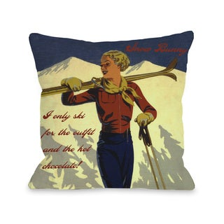 Snow Bunny Vintage Ski Throw Pillow