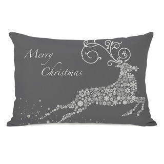 Snowflake Reindeer - Grey Throw Pillow
