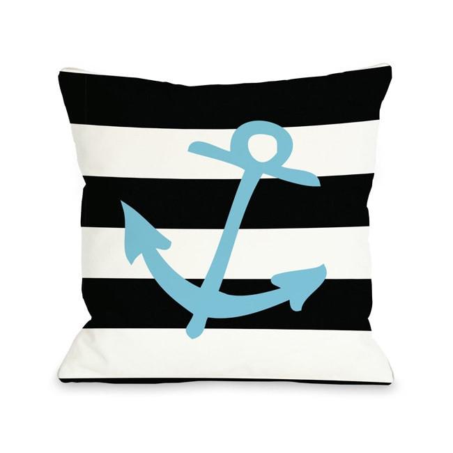 Striped Neon Anchor - Blue Throw Pillow (18 x 18 Pillow),...