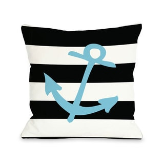 Striped Neon Anchor - Blue Throw Pillow
