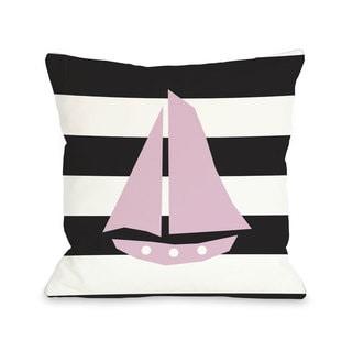 Striped Sailboat - Black Throw Pillow
