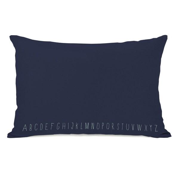 Written Alphabet Navy Throw Pillow