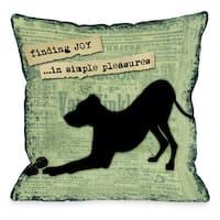 Finding Joy In Simple Pleasures Dog Theme Throw Pillow