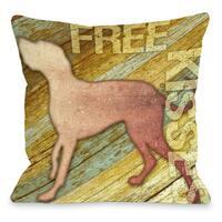 Free Kisses Dog Wood Throw Pillow