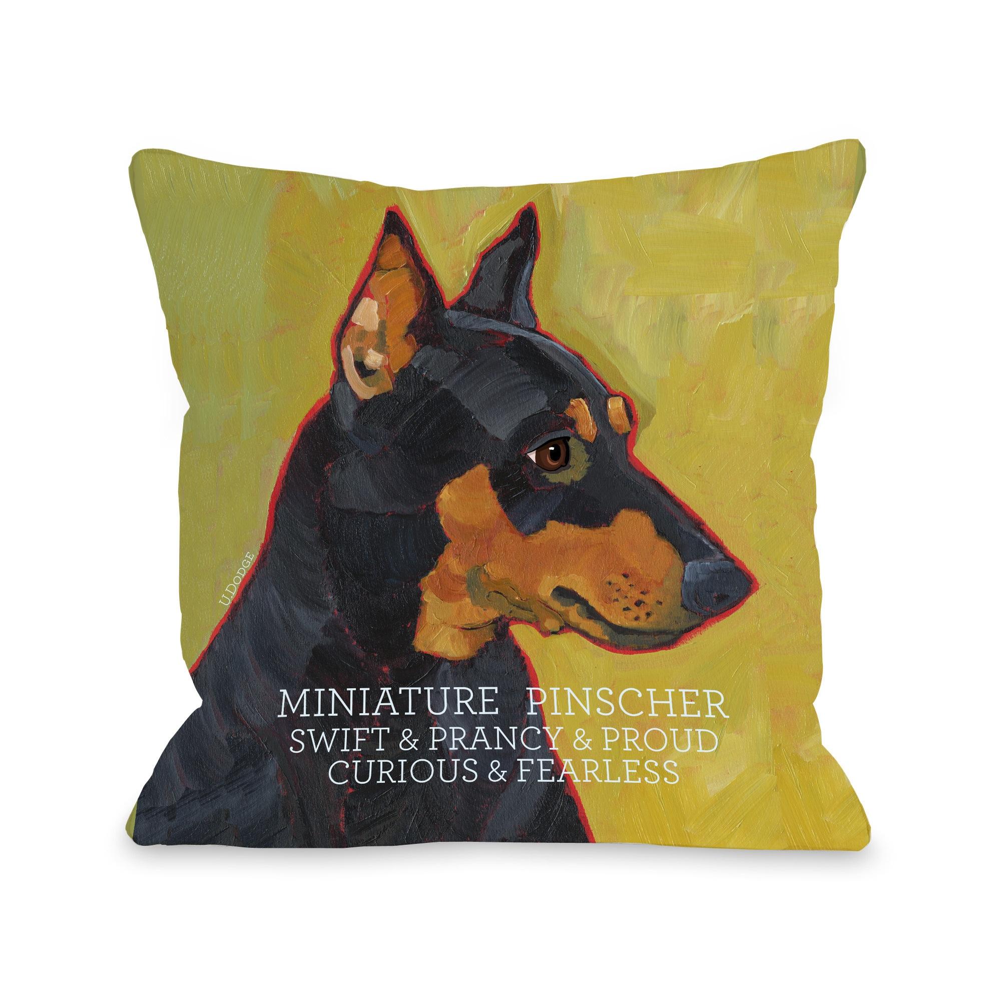 Miniature Pinscher Throw Pillow (18 x 18 Pillow), Multi (...