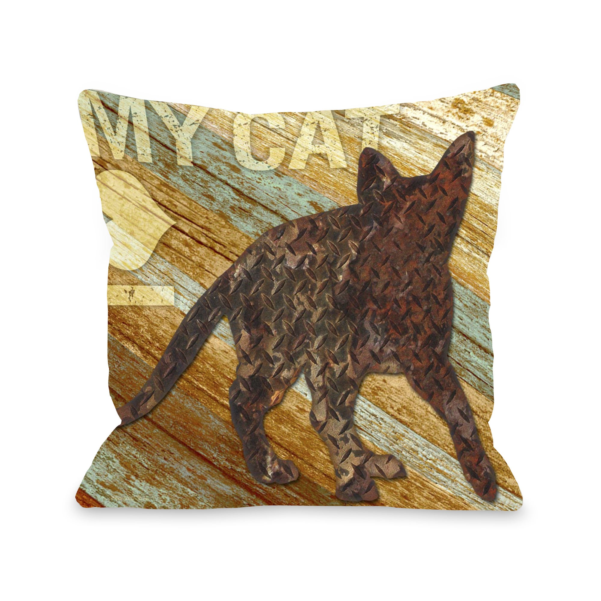 I love my Cat Wood Throw Pillow (Oversized - Specialty)