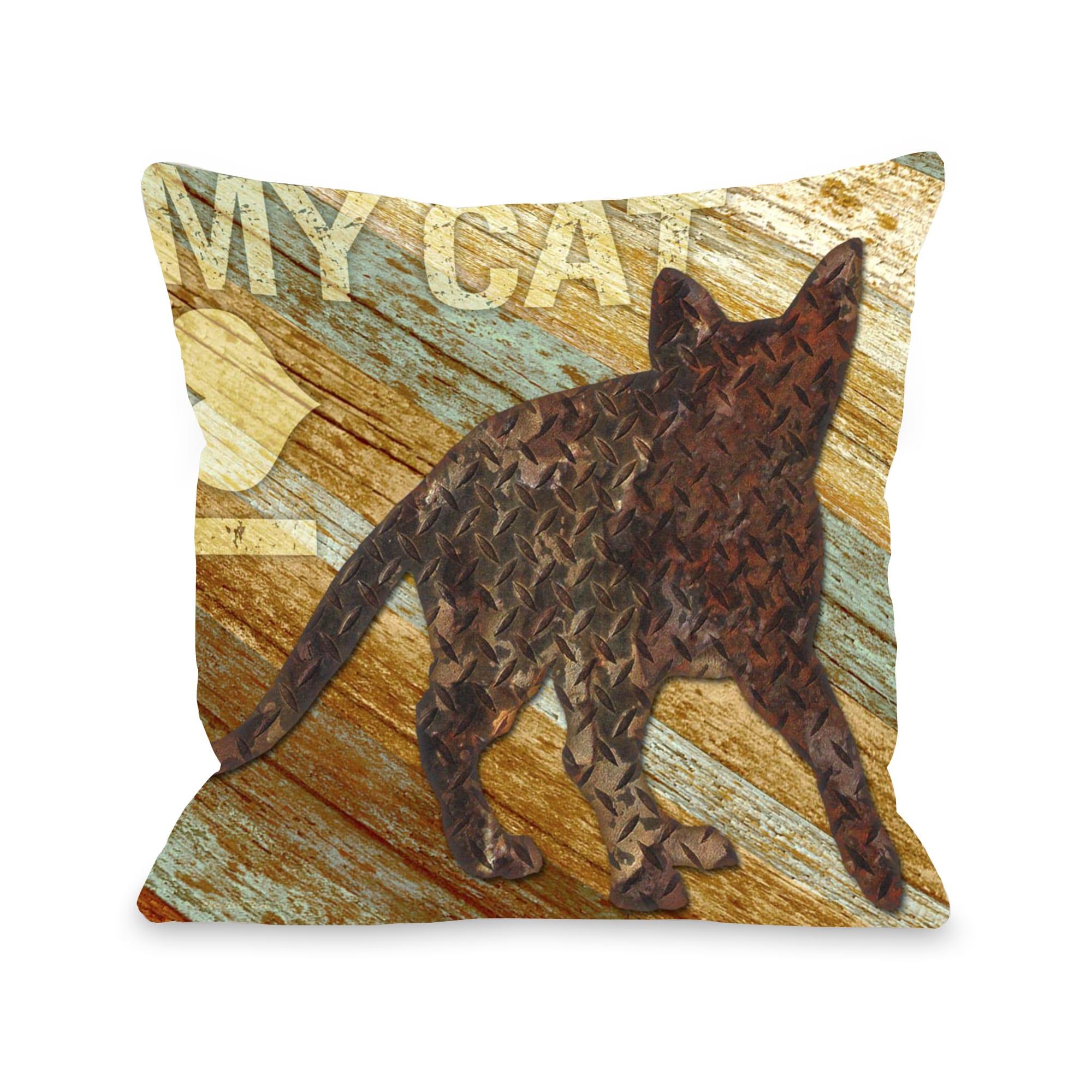 I love my Cat Wood Throw Pillow (Medium - 18 x 18)