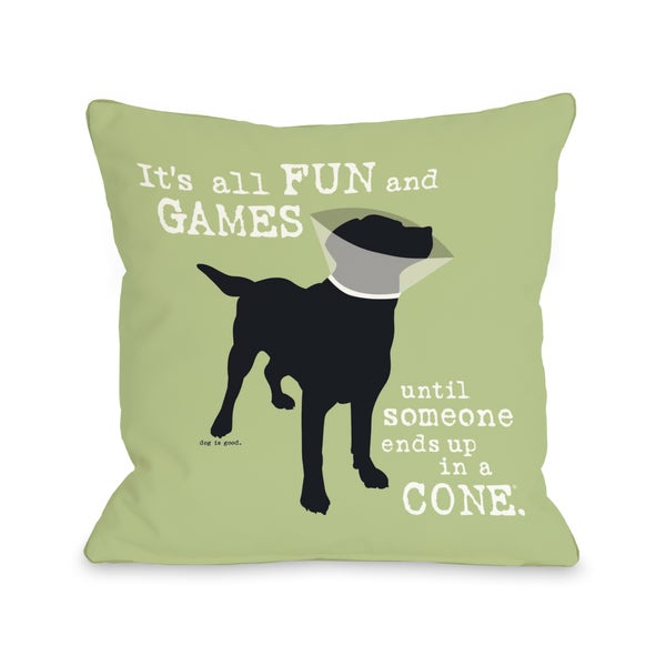 Its all fun and games Green Throw Pillow