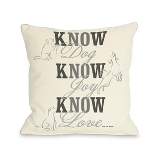 Know Dog Cream Throw Pillow