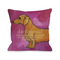 Dachshund Pink Decorative Throw Pillow