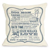 Dog Mom Cream Blue Throw Pillow