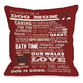 Proud to be a Dog Mom Red Throw Pillow