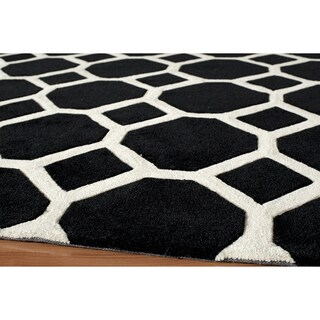 Momeni Bliss Black Honeycomb Hand-Tufted Rug - 2' x 3'