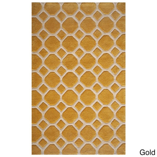 Momeni Bliss Gold Honeycomb Hand Tufted Rug 5 X75 6 5