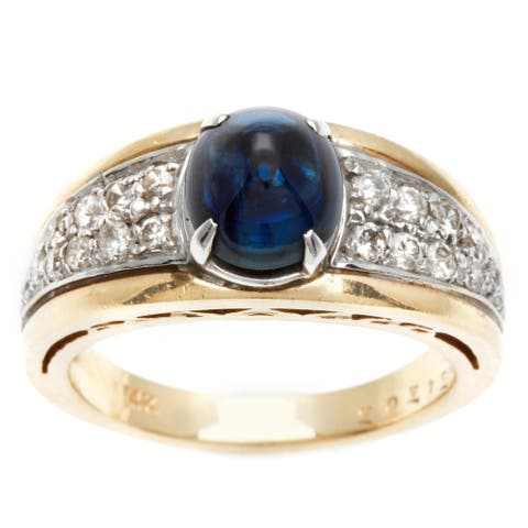 Pre-owned 14k Yellow Gold 2/5ct TDW Diamond and Sapphire Estate Ring (J-K, SI1-SI2)