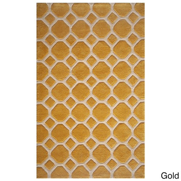 Honeycomb Gold Hand Tufted Rug (8u0027 X ...