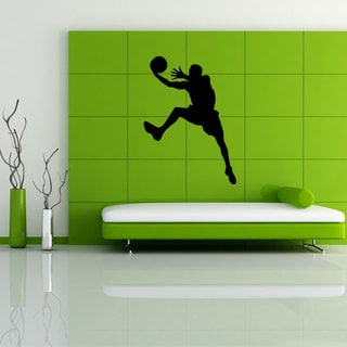 Basketball Player Glossy Black Vinyl Wall Decal