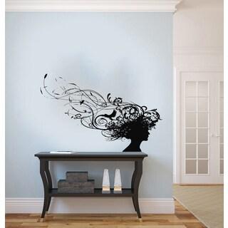 Woman Hair Silhouette Vinyl Wall Decal