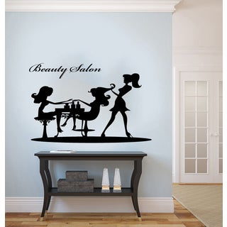 Beauty Salon Graceful Woman Silhouette Vinyl Wall Decal