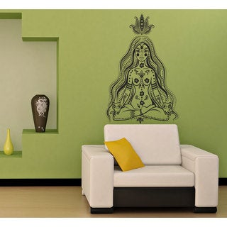 Girl Meditates in the Lotus Position Vinyl Wall Decal