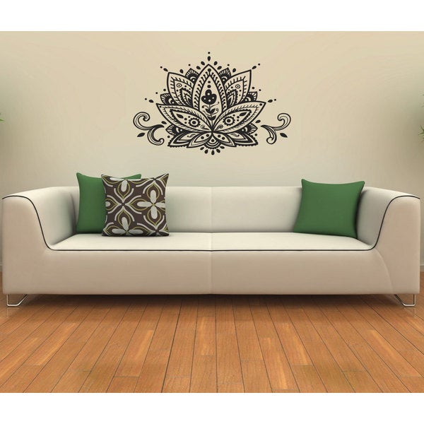 Lotus Flower Vinyl Wall Decal  sc 1 st  Overstock.com & Shop Lotus Flower Vinyl Wall Decal - Free Shipping On Orders Over ...